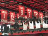 The banners for the Red Wings' eight retired numbers in the rafters at Little Caesars Arena, on the night that Red Kelly's #4 was raised.