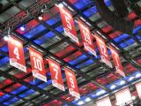 The Red Wings' eight retired number banners hanging in the rafters of Little Caesars Arena.