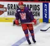 David Pope of the Grand Rapids Griffins skates at the blue line during pre-game warmups before the Griffins' annual Purple Game.