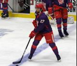 Jake Chelios of the Grand Rapids Griffins skates at the blue line during pre-game warmups before the Griffins' annual Purple Game.