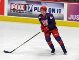 Dennis Cholowski of the Grand Rapids Griffins skates during pre-game warmups before the Griffins' annual Purple Game.