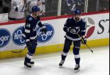 Jan Rutta and Nikita Kucherov of the Tampa Bay Lightning skate near the boards during pre-game warmups before a game against the Detroit Red Wings.