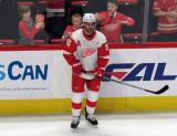 Frans Nielsen of the Detroit Red Wings stands at the boards during pre-game warmups before a game against the Tampa Bay Lightning.