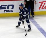 Mikhail Sergachev of the Tampa Bay Lightning skates at the blue line during a game against the Detroit Red Wings.