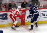 Danny DeKeyser of the Detroit Red Wings battles along the boards with Alex Killorn of the Tampa Bay Lightning.