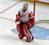 Jimmy Howard of the Detroit Red Wings gets set in his crease during a game against the Tampa Bay Lightning.