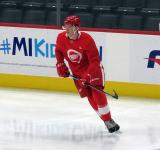 Elmer Soderblom skates near the boards during pre-game warmups before a scrimmage at the Detroit Red Wings' 2019 Development Camp.