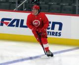 Cody Morgan skates at the blue line during pre-game warmups before a scrimmage at the Detroit Red Wings' 2019 Development Camp.
