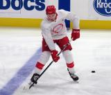 Jack Adams skates at the blue line during pre-game warmups before a scrimmage at the Detroit Red Wings' 2019 Development Camp.