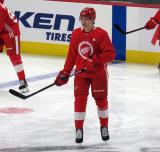 Moritz Seider skates at center ice during pre-game warmups before a scrimmage at the Detroit Red Wings' 2019 Development Camp.