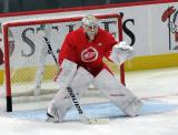 Filip Larsson gets set in his crease during pre-game warmups before a scrimmage at the Detroit Red Wings' 2019 Development Camp.