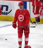Joe Veleno skates in the neutral zone during pre-game warmups before a scrimmage at the Detroit Red Wings' 2019 Development Camp.
