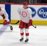 Otto Kivenmaki skates near the blue line during pre-game warmups before a scrimmage at the Detroit Red Wings' 2019 Development Camp.