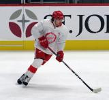 Albin Grewe skates with a puck during pre-game warmups before a scrimmage at the Detroit Red Wings' 2019 Development Camp.