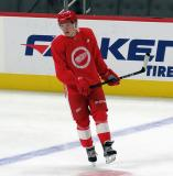 Jonatan Berggren skates during pre-game warmups before a scrimmage at the Detroit Red Wings' 2019 Development Camp.