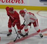 Robert Mastrosimone lines up next to Gregor MacLeod on a faceoff during a scrimmage at the Detroit Red Wings' 2019 Development Camp.