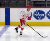 Taro Hirose skates near the boards during a scrimmage at the Detroit Red Wings' 2019 Development Camp.
