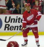Chris Chelios waits for a pass during pregame warmups.