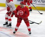 Joe Veleno skates in the neutral zone during a scrimmage at the Detroit Red Wings' 2019 Development Camp.