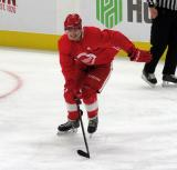 Robert Mastrosimone skates during a scrimmage at the Detroit Red Wings' 2019 Development Camp.