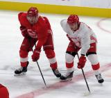 Ryan Kuffner and Albin Grewe line up for a faceoff during a scrimmage at the Detroit Red Wings' 2019 Development Camp.