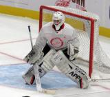 Jesper Eliasson sets up in his crease during a scrimmage at the Detroit Red Wings' 2019 Development Camp.