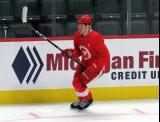 Owen Lalonde skates near the boards during a scrimmage at the Detroit Red Wings' 2019 Development Camp.