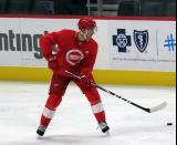 Joe Veleno plays the puck during a scrimmage at the Detroit Red Wings' 2019 Development Camp.