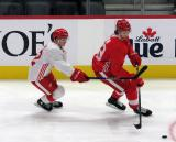 Ethan Phillips chases down Moritz Seider during a scrimmage at the Detroit Red Wings' 2019 Development Camp.