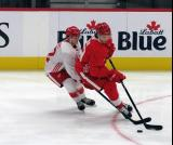 Ethan Phillips hounds Moritz Seider during a scrimmage at the Detroit Red Wings' 2019 Development Camp.