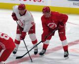 Owen Robinson and Chad Yetman line up for a faceoff during a scrimmage at the Detroit Red Wings' 2019 Development Camp.