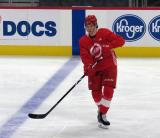 Moritz Seider passes the puck at the blue line during a scrimmage at the Detroit Red Wings' 2019 Development Camp.