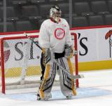 Keith Petruzzelli stands in his crease during a scrimmage at the Detroit Red Wings' 2019 Development Camp.