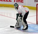 Carter Gylander gets set at the top of his crease during a scrimmage at the Detroit Red Wings' 2019 Development Camp.