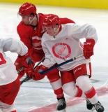 Jarid Lukosevicius and Ethan Phillips battle off a faceoff during a scrimmage at the Detroit Red Wings' 2019 Development Camp.