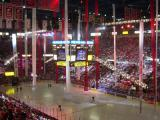 Streamers descend from the Joe Louis Arena rafters as part of a playoff pregame celebration.