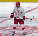 Albin Grewe skates at center ice during a scrimmage at the Detroit Red Wings' 2019 Development Camp.