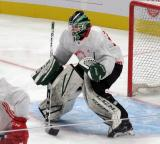 Carter Gylander comes out to the top of his crease during a scrimmage at the Detroit Red Wings' 2019 Development Camp.