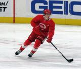 Albert Johansson skates with the puck during a scrimmage at the Detroit Red Wings' 2019 Development Camp.