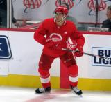 Joe Veleno skates near the boards during a scrimmage at the Detroit Red Wings' 2019 Development Camp.