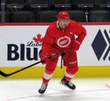 Samuel Bucek skates near the boards during a scrimmage at the Detroit Red Wings' 2019 Development Camp.