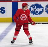 Albert Johannson skates at the blue line during a scrimmage at the Detroit Red Wings' 2019 Development Camp.