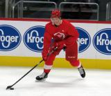Mortiz Seider skates with the puck during a scrimmage at the Detroit Red Wings' 2019 Development Camp.