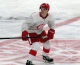 Ethan Phillips skates at center ice during a scrimmage at the Detroit Red Wings' 2019 Development Camp.