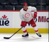 Alec McCrea skates near the boards during a scrimmage at the Detroit Red Wings' 2019 Development Camp.