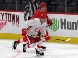 Taro Hirose and Moritz Seider skate near the boards during a scrimmage at the Detroit Red Wings' 2019 Development Camp.