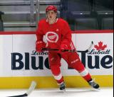 Jonatan Berggren skates near the boards during a scrimmage at the Detroit Red Wings' 2019 Development Camp.