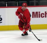 Ryan Kuffner skates in the corner during a scrimmage at the Detroit Red Wings' 2019 Development Camp.