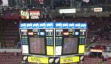 A view of the Joe Louis Arena scoreboard, showing the 3-2 final score of a Detroit double-overtime win over Edmonton.