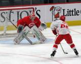 Victor Brattstrom faces Odeen Tufto on a shootout attempt during a scrimmage at the Detroit Red Wings' 2019 Development Camp.